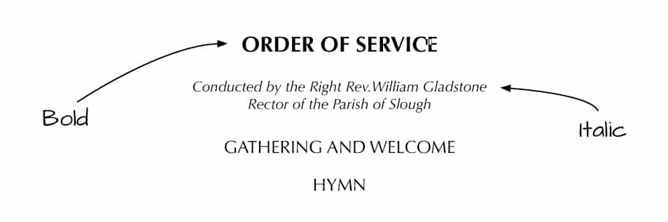 Bold and Italic Type in Order of Service